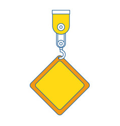 construction label hanging in crane vector image
