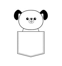 Cute dog in pocket doodle contour linear vector