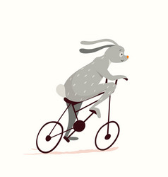Cute little bunny cycling riding bicycle funny vector