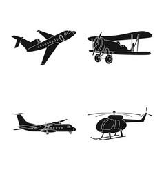 Design of plane and transport logo set of vector