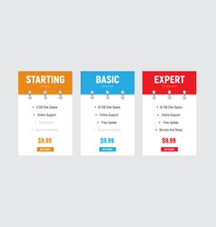 design price tables with a color header and a vector image