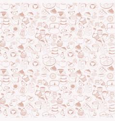 doodle beverage element mug tea set and cupcakes vector image