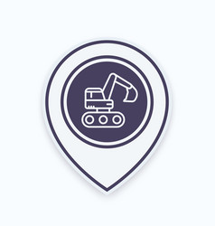 Excavator icon in linear style on map pointer vector