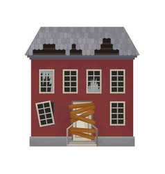 facade of abandoned house with broken windows and vector image