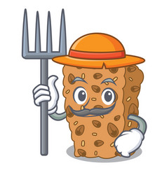 Farmer granola bar character cartoon vector