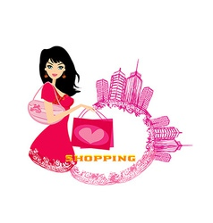 fashion girl Shopping - abstract vector image