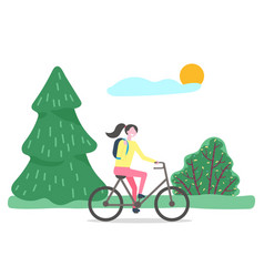 female walking on bicycle in summer park vector image