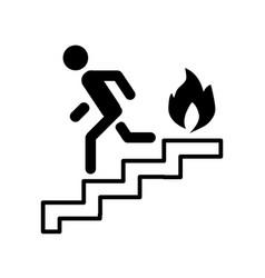 Fire escape ladder man fire line icon vector