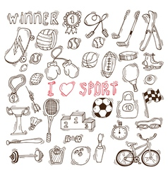 Fitness and sport elements Hand drawn sport doodle vector