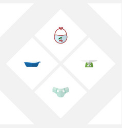 Flat child set of bathtub children scales vector