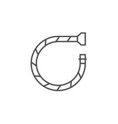 Flexible water tube line outline icon vector