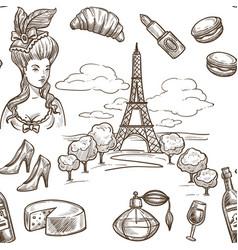 france sketch seamless pattern background vector image