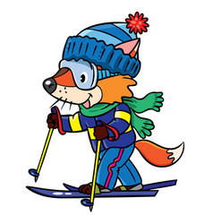 Funny fox rides on skis vector