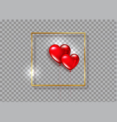 glossy red balloons heart shape on gold frame vector image