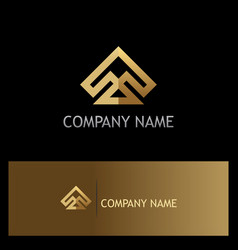 gold shape arrow geometry abstract company logo vector image
