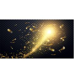 golden particles wave sparkle stardust vector image