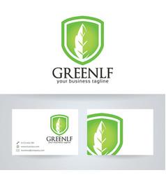 Green leaf finance logo design vector