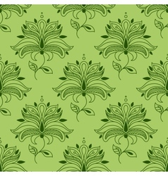 Green paisley seamless floral pattern vector
