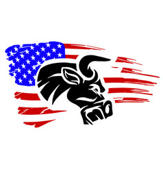 grunge texture bull head or cow with usa flag vector image
