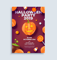 Halloween party layout poster or flyer template vector