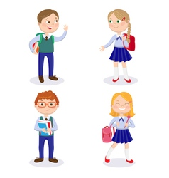 Happy Boys and Girls Go to School with Backpacks vector
