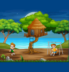 Happy kids playing in park vector