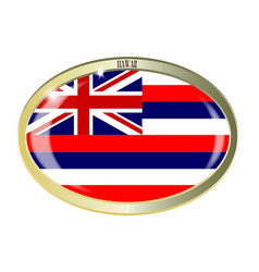 Hawaii state flag oval button vector