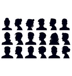 head silhouettes female and male faces portraits vector image