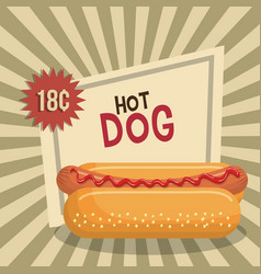 Hot dog fast food design isolated vector