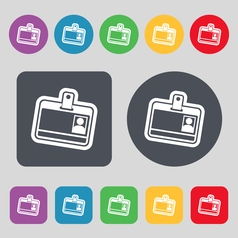 Id card icon sign A set of 12 colored buttons Flat vector image