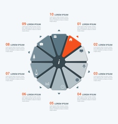 Infographic temlate with decagon 10 options vector