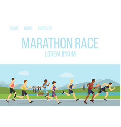 jogging running maraphone race people vector image