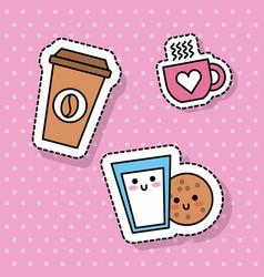 Kawaii coffee cup milk cookie breakfast vector