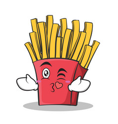 Kissing face french fries cartoon character vector