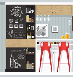 Kitchen bar interior vector