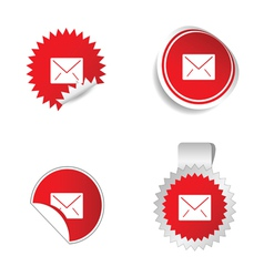 letter envelope sticker red vector image