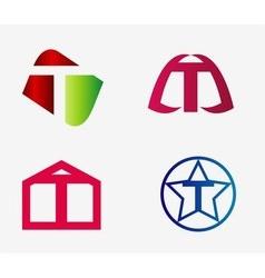 Letter t logo icon set vector