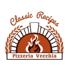 Logo with firewood oven and pizza vector