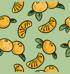 mandarin doodles seamless pattern orange vector image