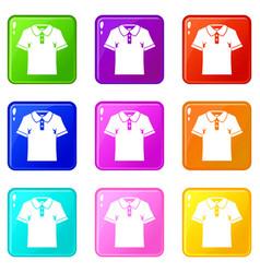 Men polo shirt icons 9 set vector