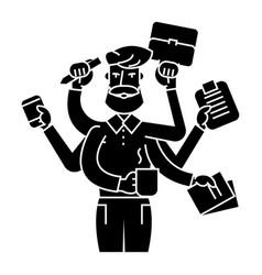 Multitasking businessman icon vector