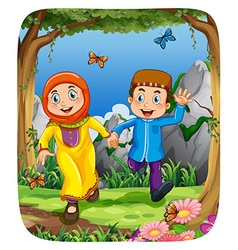 Muslim couple holding hands in the forest vector image