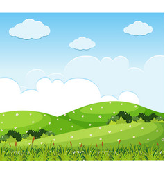 nature scene with flowers on the hills vector image