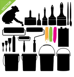 Paint bucket and brush silhouette vector image