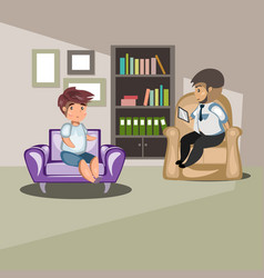 Patient talking to psychologist vector