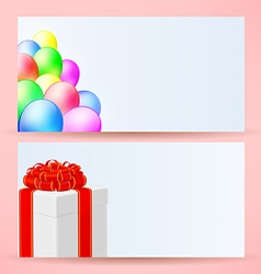 postcards with balloons and gift vector image