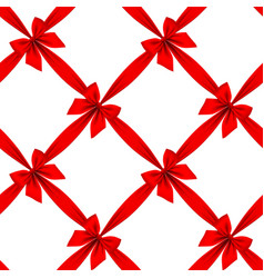 Red ribbon and bow grid seamless pattern vector