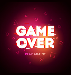 retro game over glitch background vector image