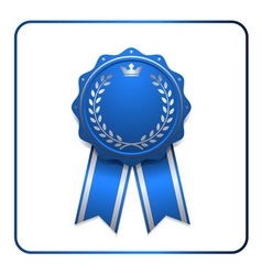 Ribbon award icon blue vector
