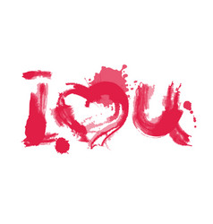 romantic watercolor lettering i love you red on vector image